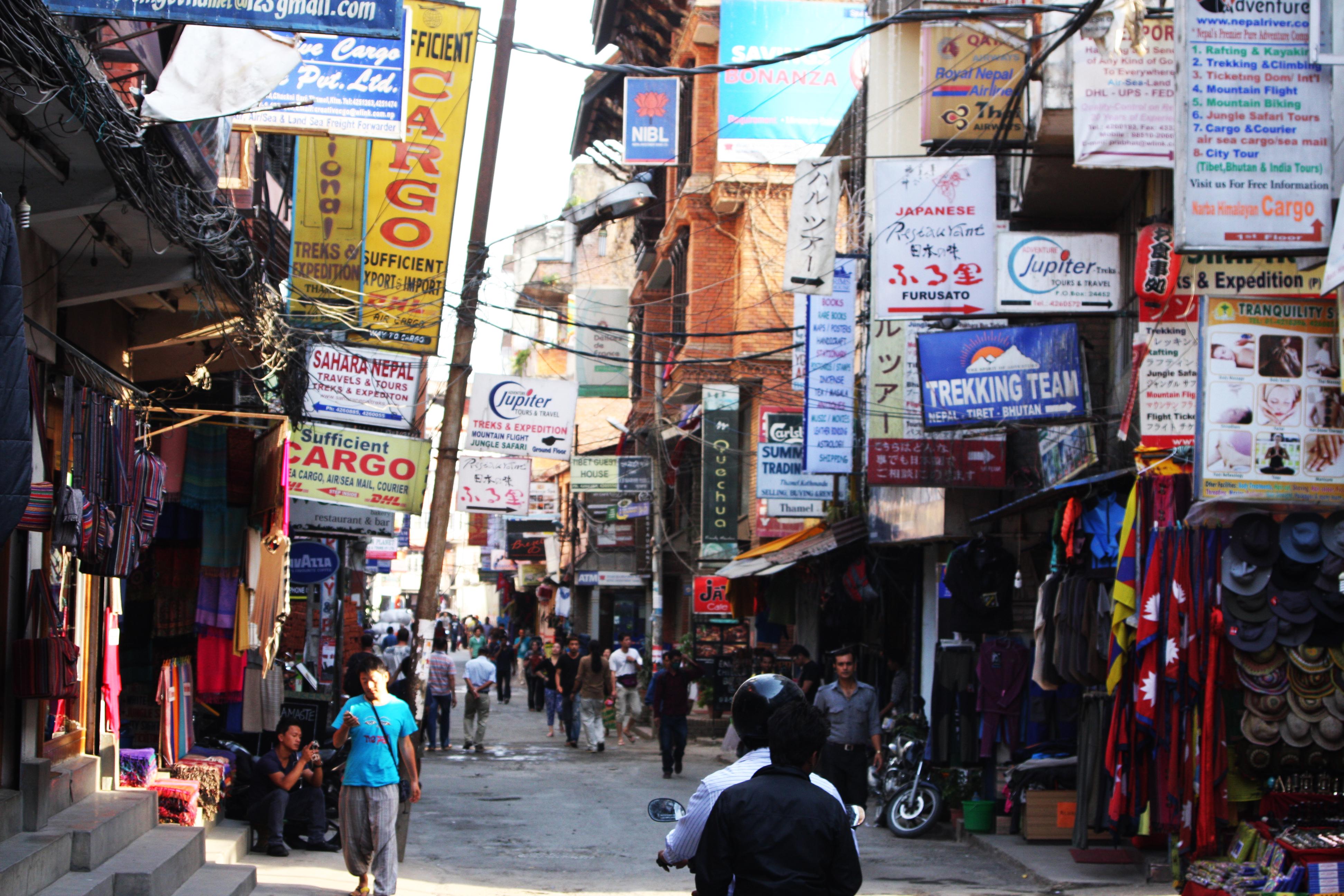 Thamel, das Touristenviertel in Kathmandu