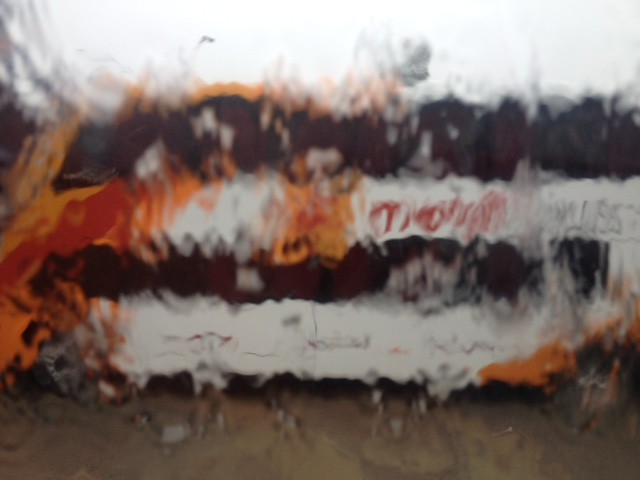 Platzregen waehrend der Busfahrt